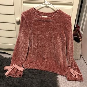 Pink crushed velvet sweater size small